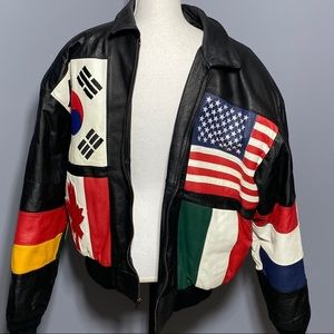 Vintage Phase 2 World Flags Leather Bomber Jacket